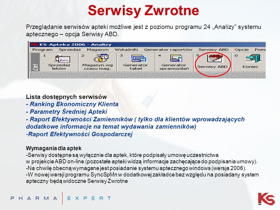 """Serwisy Zwrotne Przeglądanie serwisów apteki możliwe jest z poziomu programu 24 """"Analizy systemu aptecznego – opcja Serwisy ABD."""