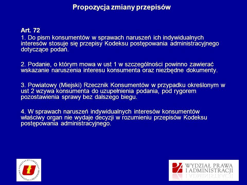Propozycja zmiany przepisów