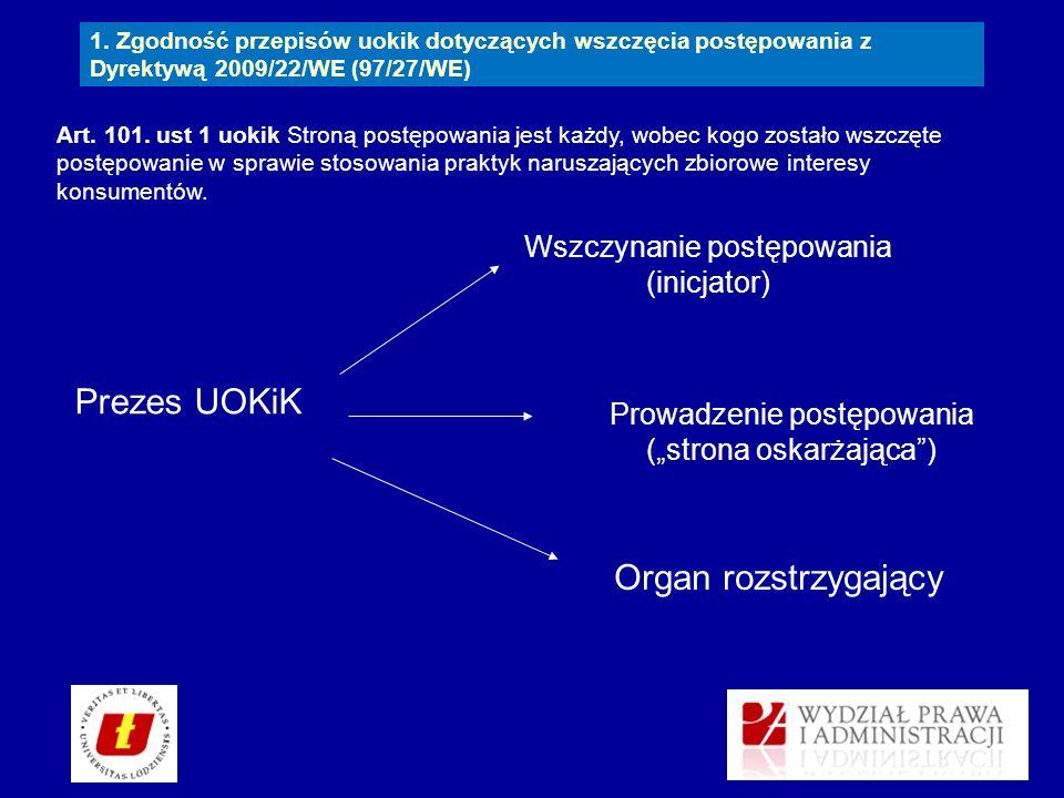 Prezes UOKiK Organ rozstrzygający Wszczynanie postępowania (inicjator)