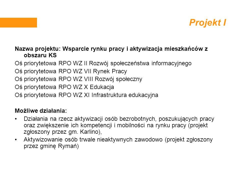 Projekt I Nazwa projektu: Wsparcie rynku pracy i aktywizacja mieszkańców z obszaru KS. Oś priorytetowa RPO WZ II Rozwój społeczeństwa informacyjnego.