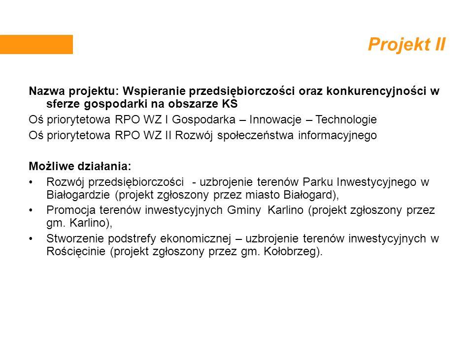 Projekt II Nazwa projektu: Wspieranie przedsiębiorczości oraz konkurencyjności w sferze gospodarki na obszarze KS.