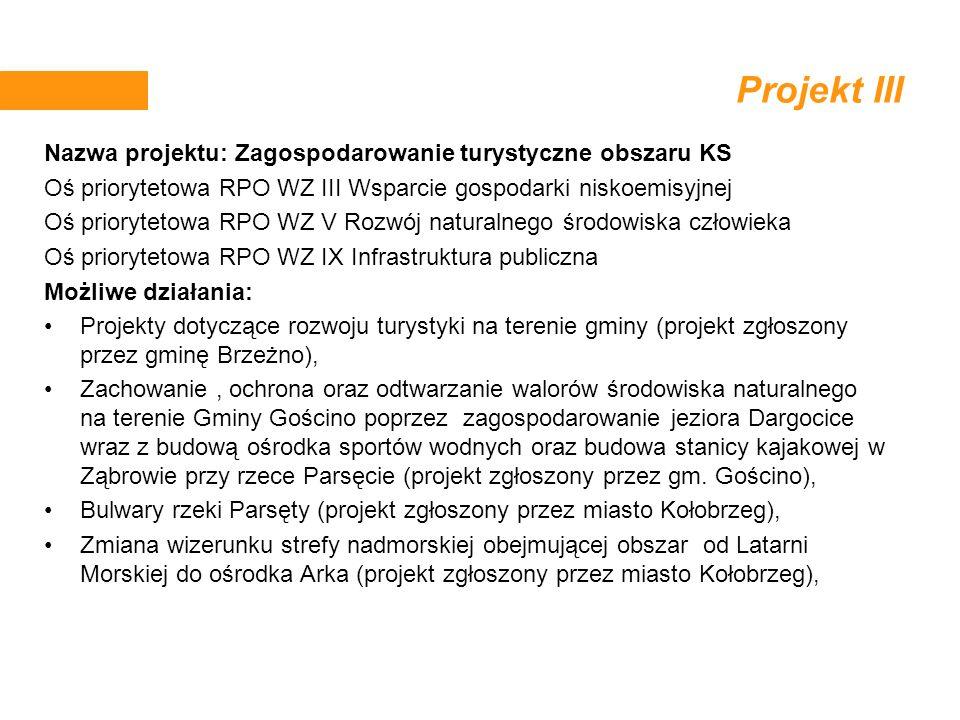 Projekt III Nazwa projektu: Zagospodarowanie turystyczne obszaru KS