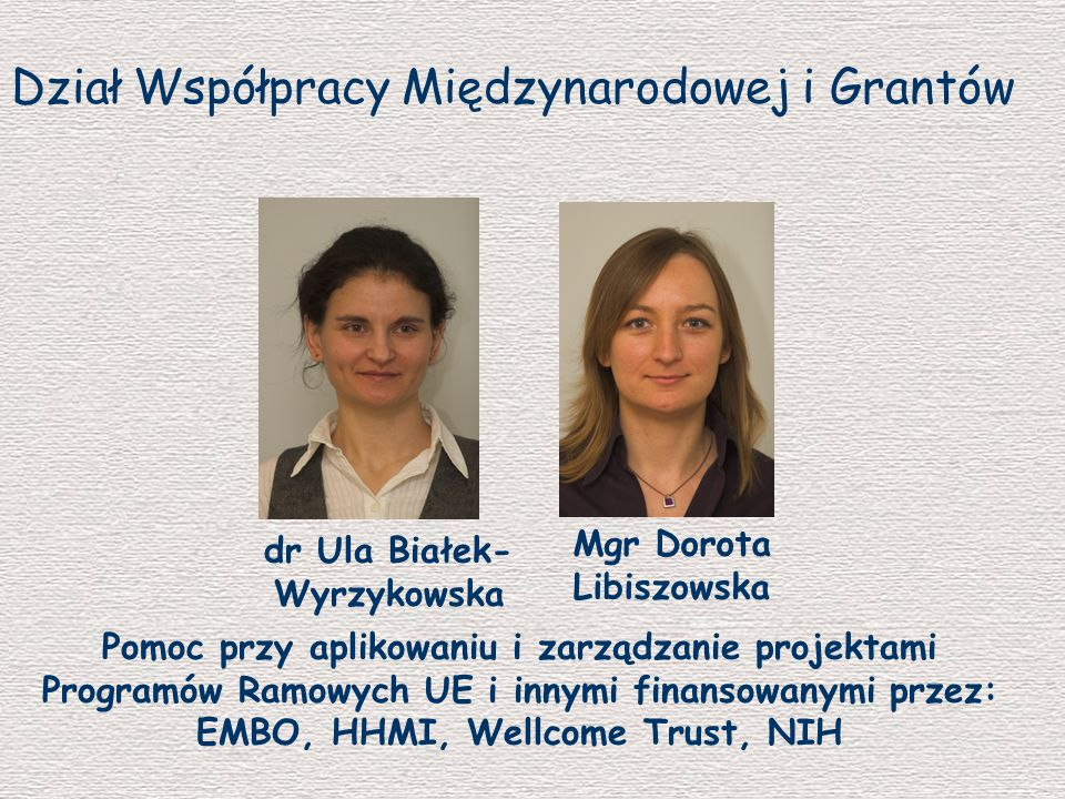 Mgr Dorota Libiszowska dr Ula Białek-Wyrzykowska