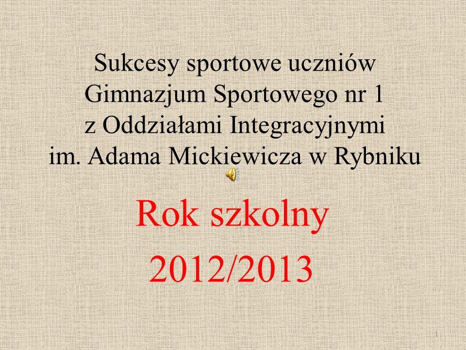 Sukcesy sportowe uczniów Gimnazjum Sportowego nr 1 z Oddziałami Integracyjnymi im. Adama Mickiewicza w Rybniku