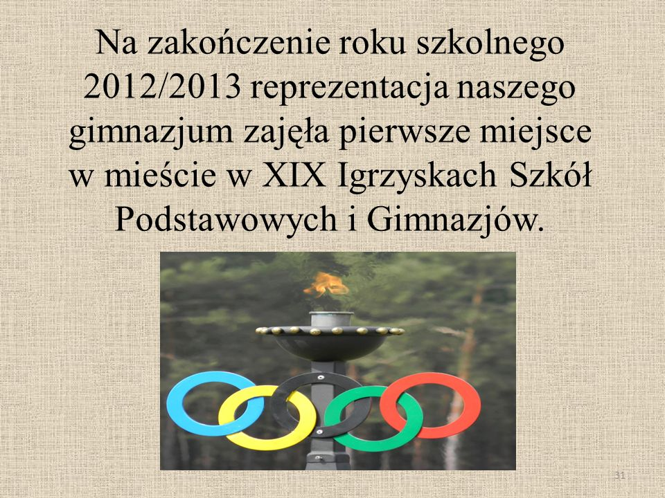 Na zakończenie roku szkolnego 2012/2013 reprezentacja naszego gimnazjum zajęła pierwsze miejsce w mieście w XIX Igrzyskach Szkół Podstawowych i Gimnazjów.