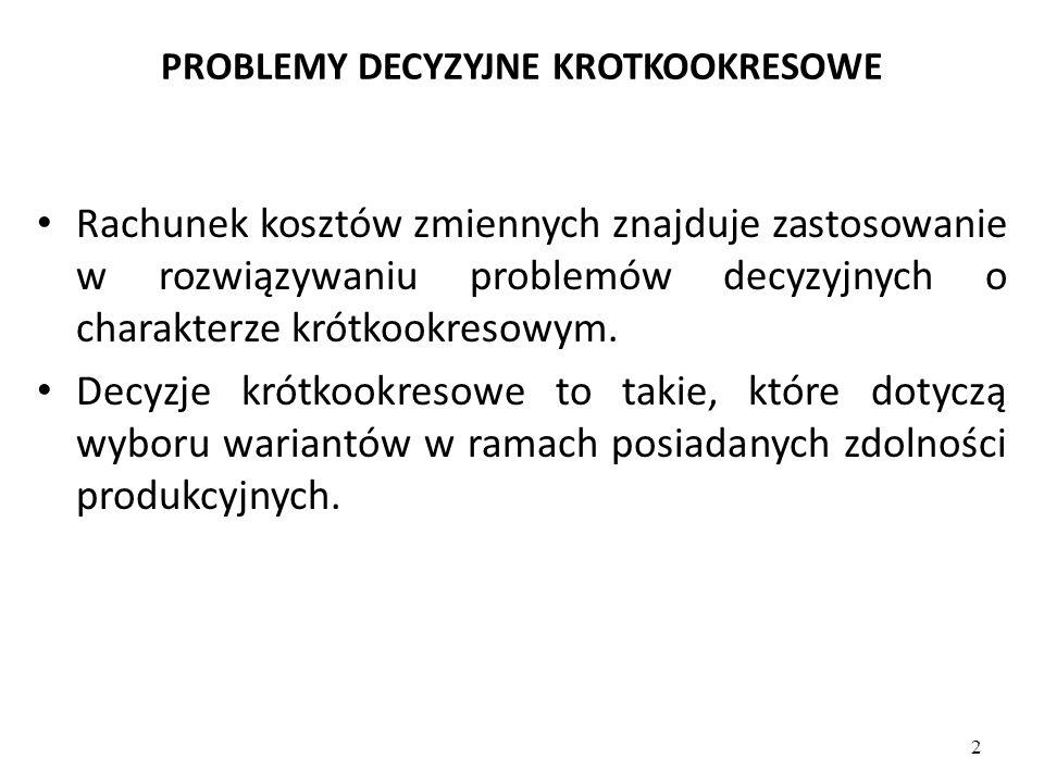 PROBLEMY DECYZYJNE KROTKOOKRESOWE