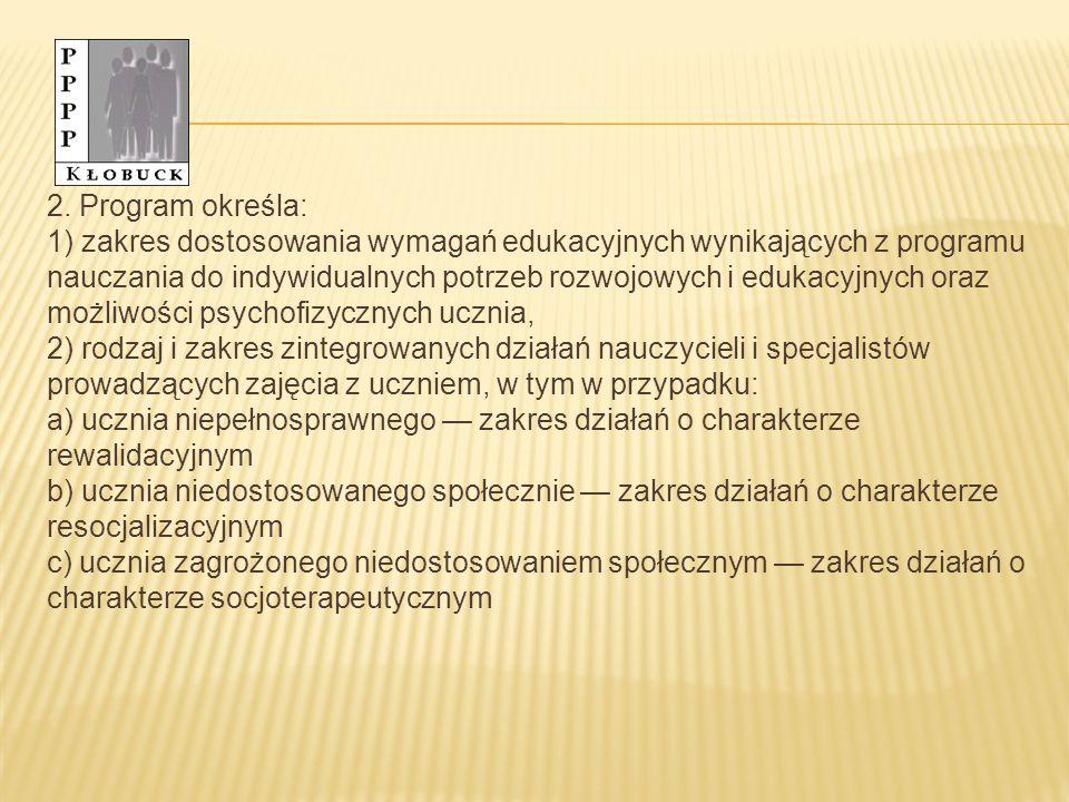 2. Program określa: