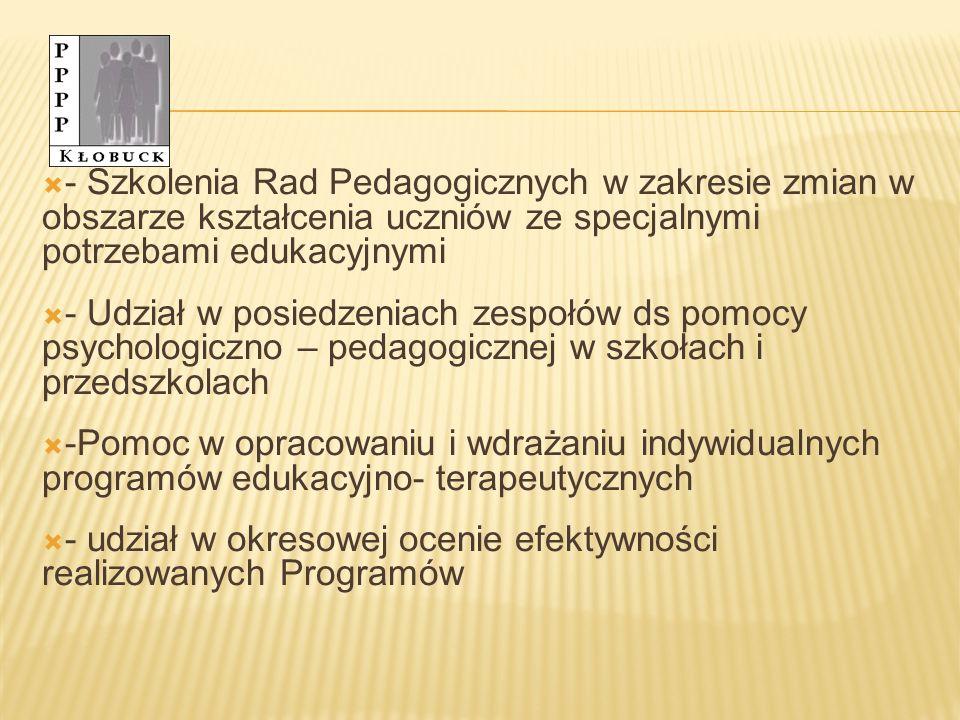 - Szkolenia Rad Pedagogicznych w zakresie zmian w obszarze kształcenia uczniów ze specjalnymi potrzebami edukacyjnymi