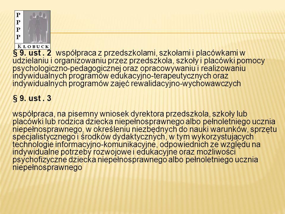 § 9. ust . 2 współpraca z przedszkolami, szkołami i placówkami w udzielaniu i organizowaniu przez przedszkola, szkoły i placówki pomocy psychologiczno-pedagogicznej oraz opracowywaniu i realizowaniu indywidualnych programów edukacyjno-terapeutycznych oraz indywidualnych programów zajęć rewalidacyjno-wychowawczych