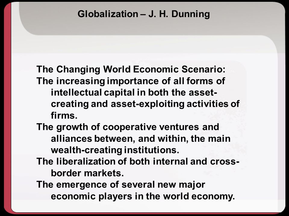 Globalization – J. H. Dunning