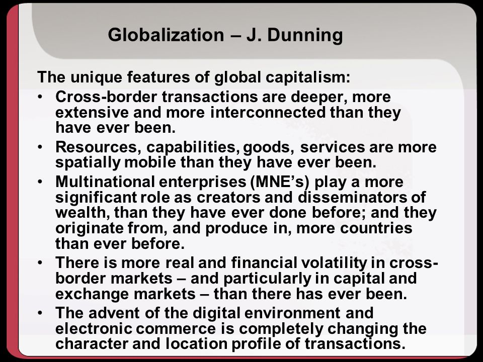 Globalization – J. Dunning