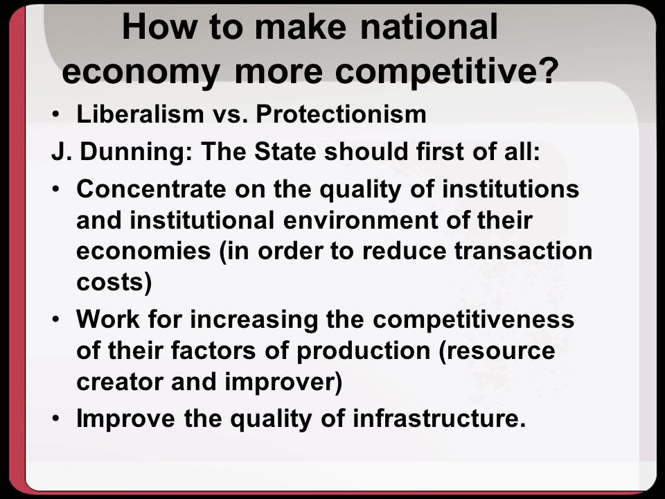 How to make national economy more competitive