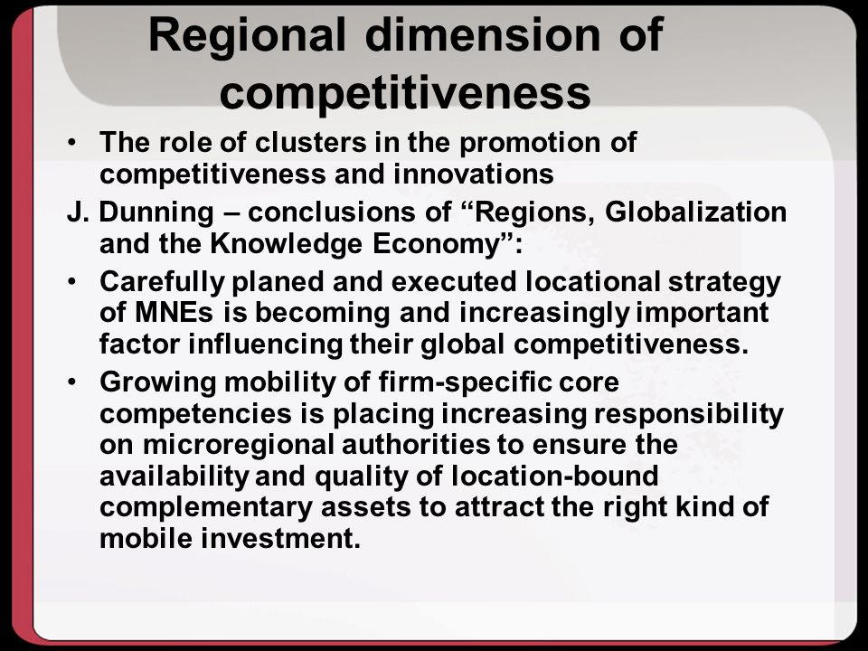 Regional dimension of competitiveness