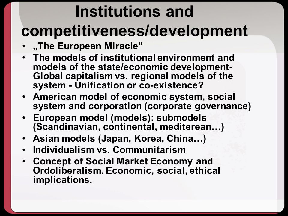 Institutions and competitiveness/development