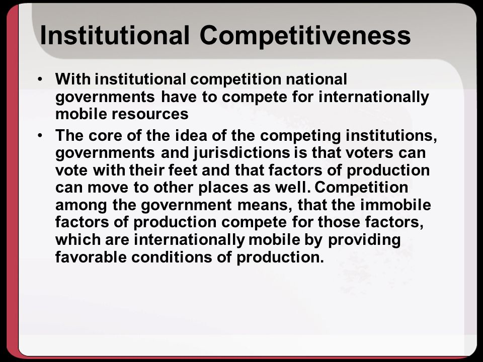 Institutional Competitiveness