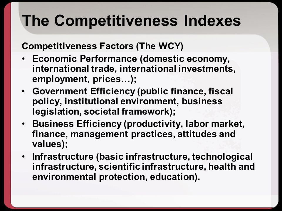 The Competitiveness Indexes
