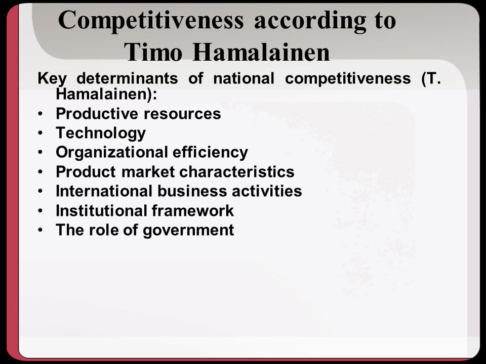 Competitiveness according to Timo Hamalainen
