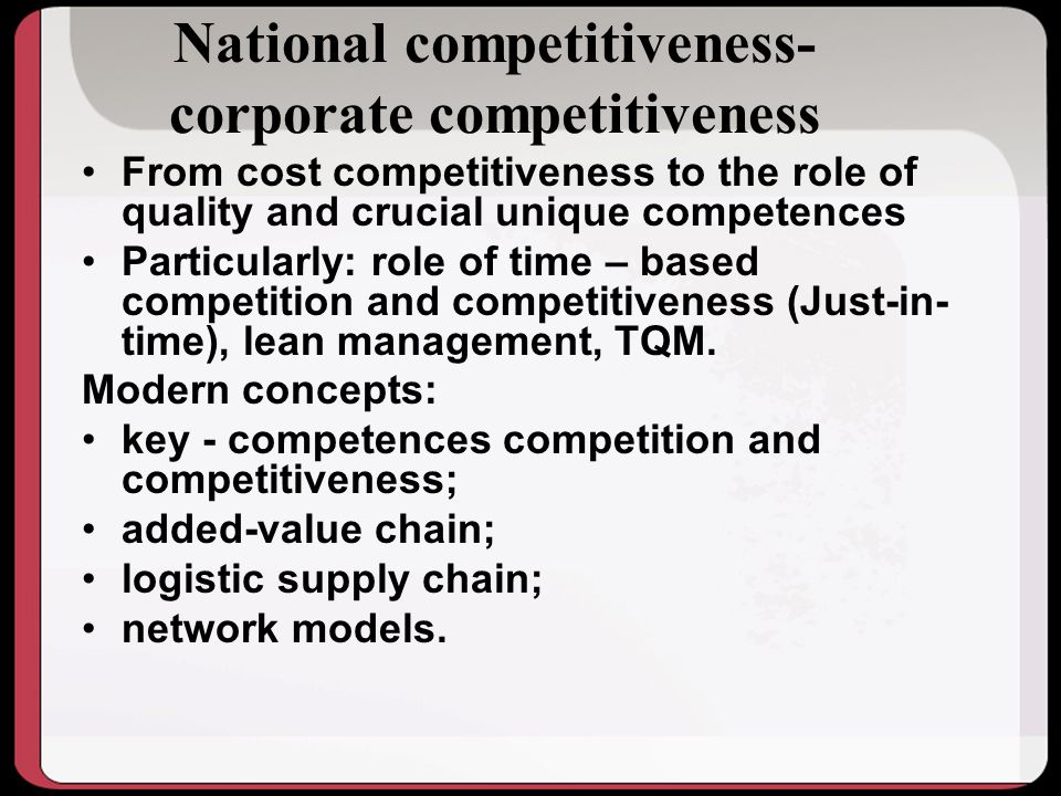 National competitiveness-corporate competitiveness