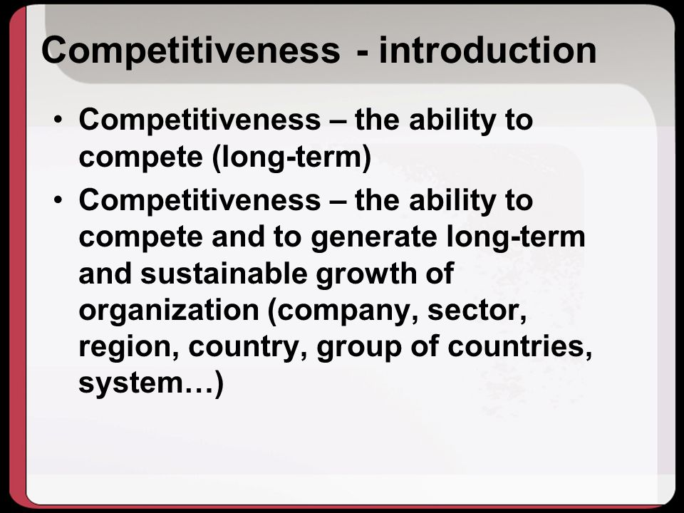 Competitiveness - introduction