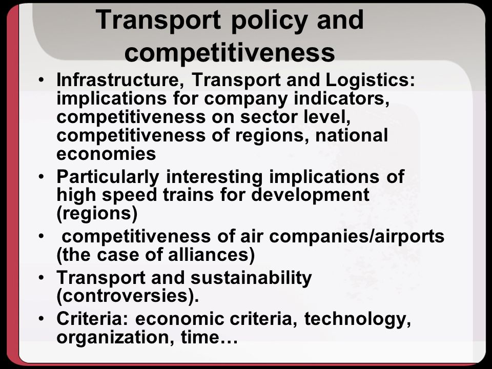 Transport policy and competitiveness