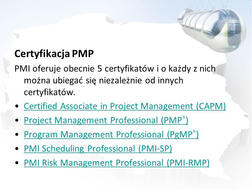 Certyfikacja PMP PMI oferuje obecnie 5 certyfikatów i o każdy z nich można ubiegać się niezależnie od innych certyfikatów.