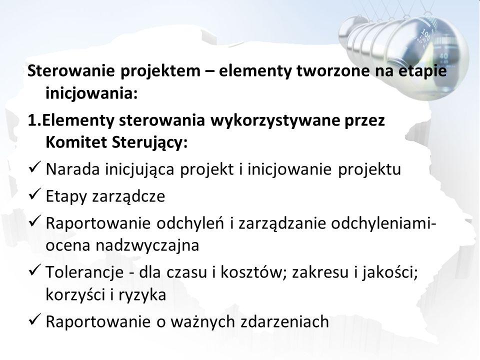 Sterowanie projektem – elementy tworzone na etapie inicjowania: