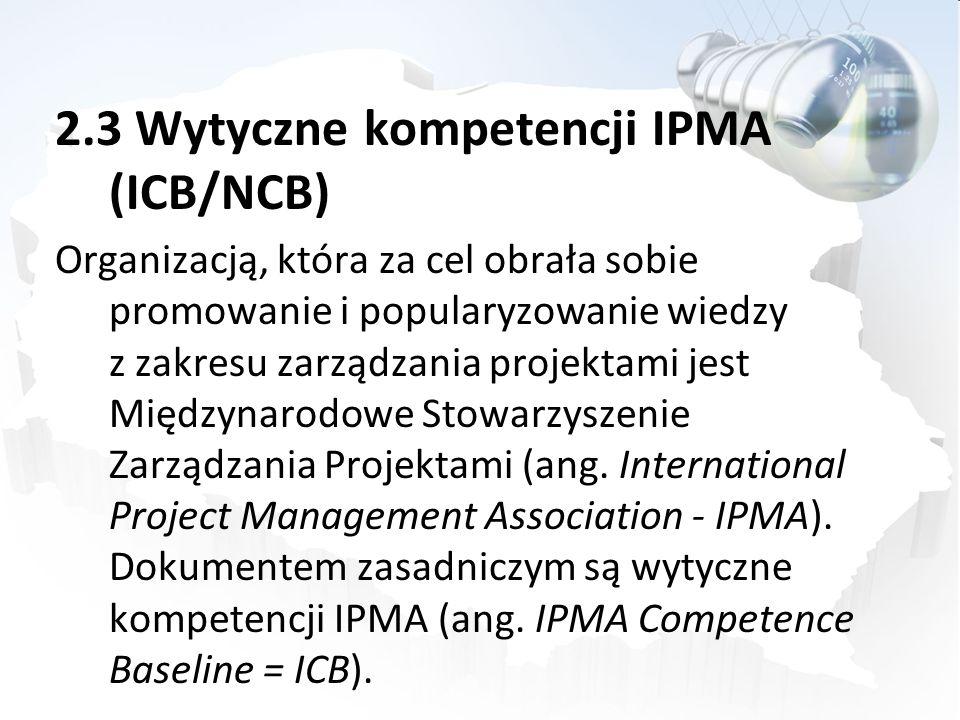 2.3 Wytyczne kompetencji IPMA (ICB/NCB)