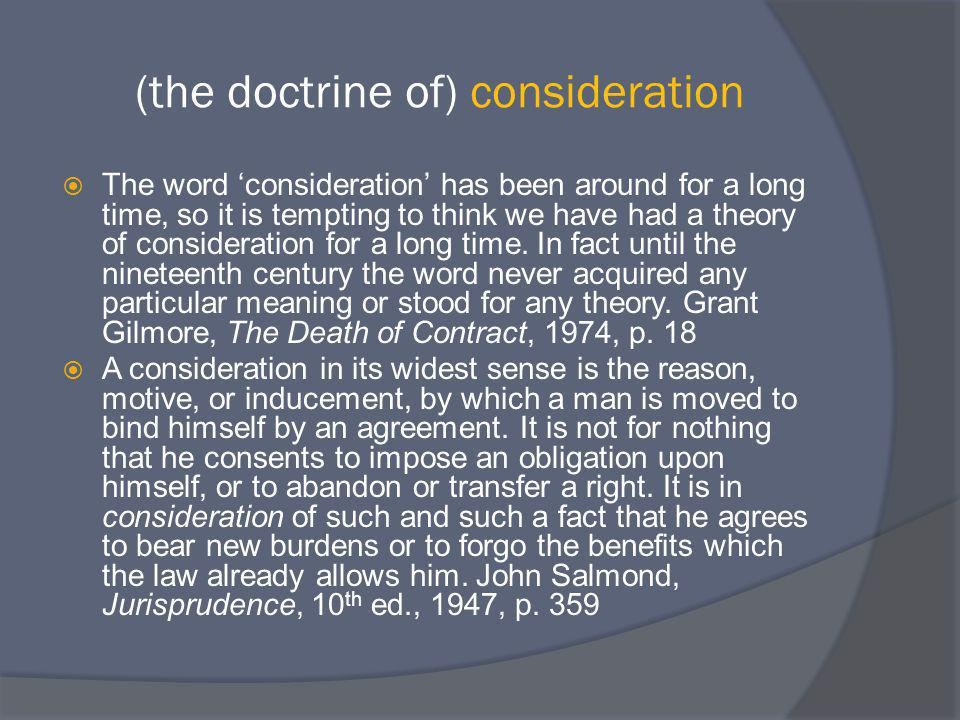 (the doctrine of) consideration