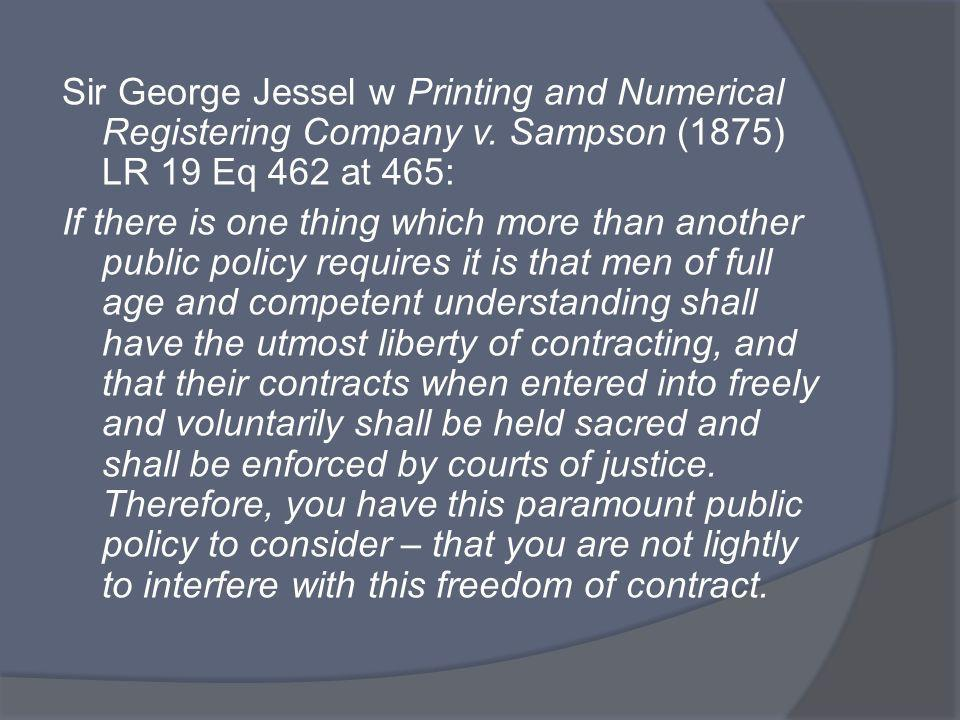 Sir George Jessel w Printing and Numerical Registering Company v