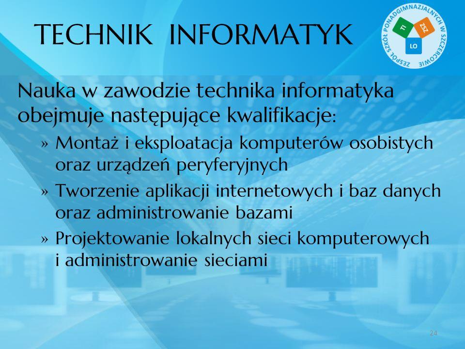 TECHNIK INFORMATYK Nauka w zawodzie technika informatyka obejmuje następujące kwalifikacje: