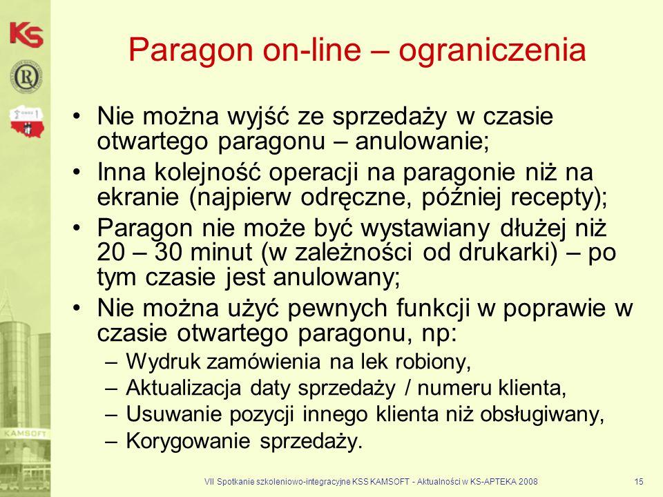 Paragon on-line – ograniczenia