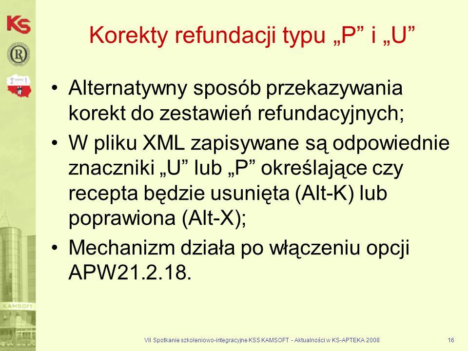 """Korekty refundacji typu """"P i """"U"""