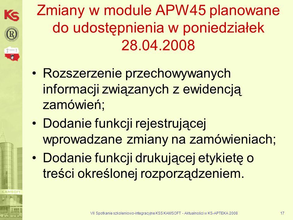 Zmiany w module APW45 planowane do udostępnienia w poniedziałek 28. 04