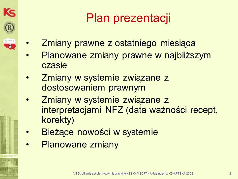 Plan prezentacji Zmiany prawne z ostatniego miesiąca