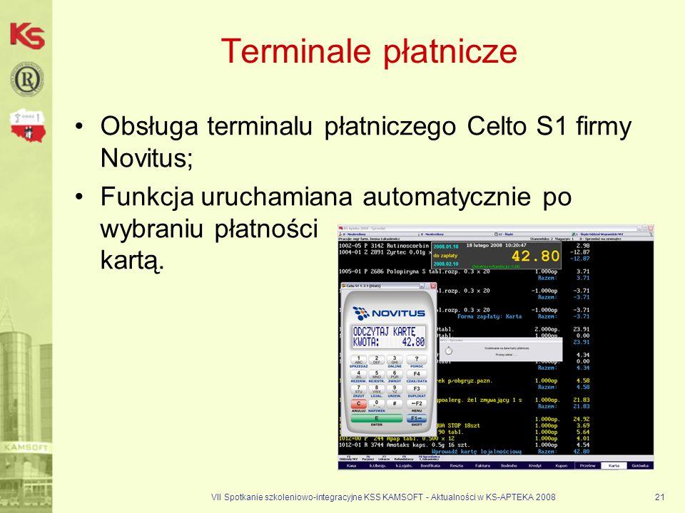 Terminale płatnicze Obsługa terminalu płatniczego Celto S1 firmy Novitus; Funkcja uruchamiana automatycznie po wybraniu płatności kartą.