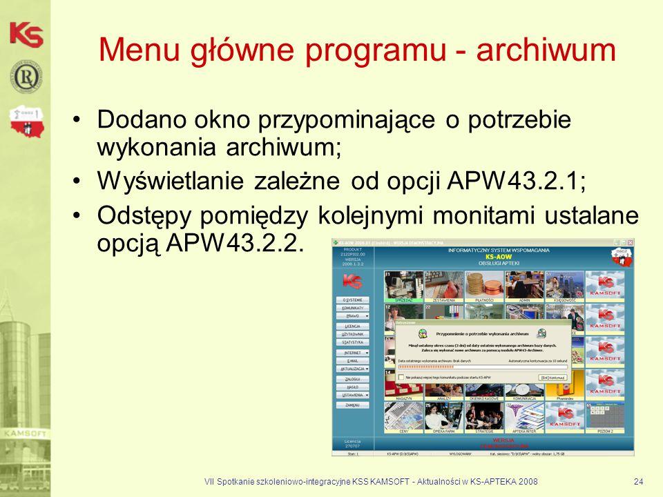 Menu główne programu - archiwum
