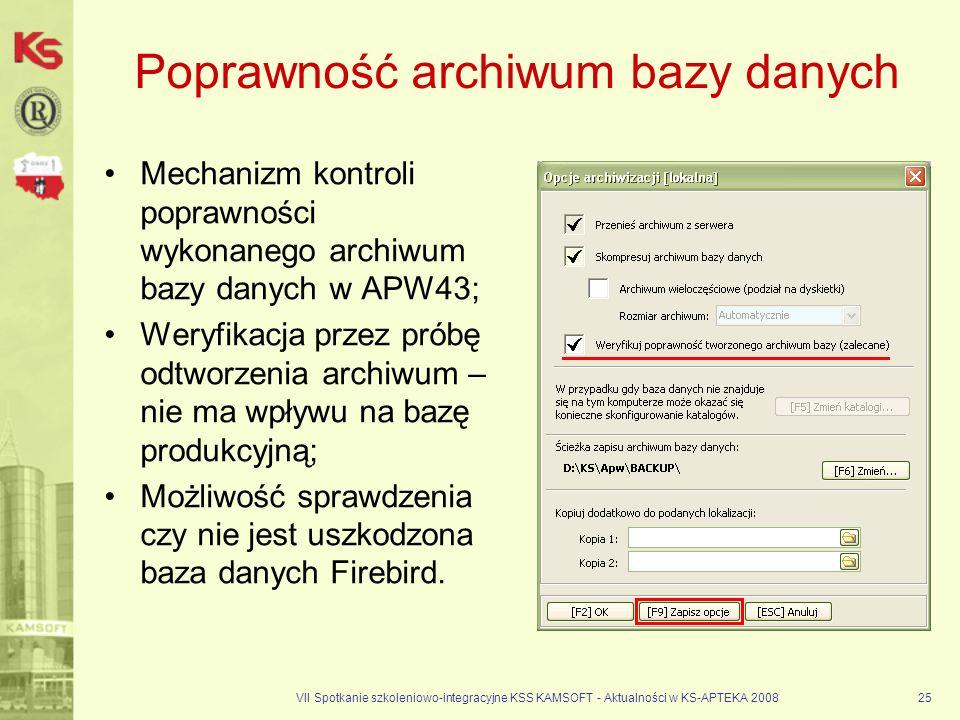 Poprawność archiwum bazy danych