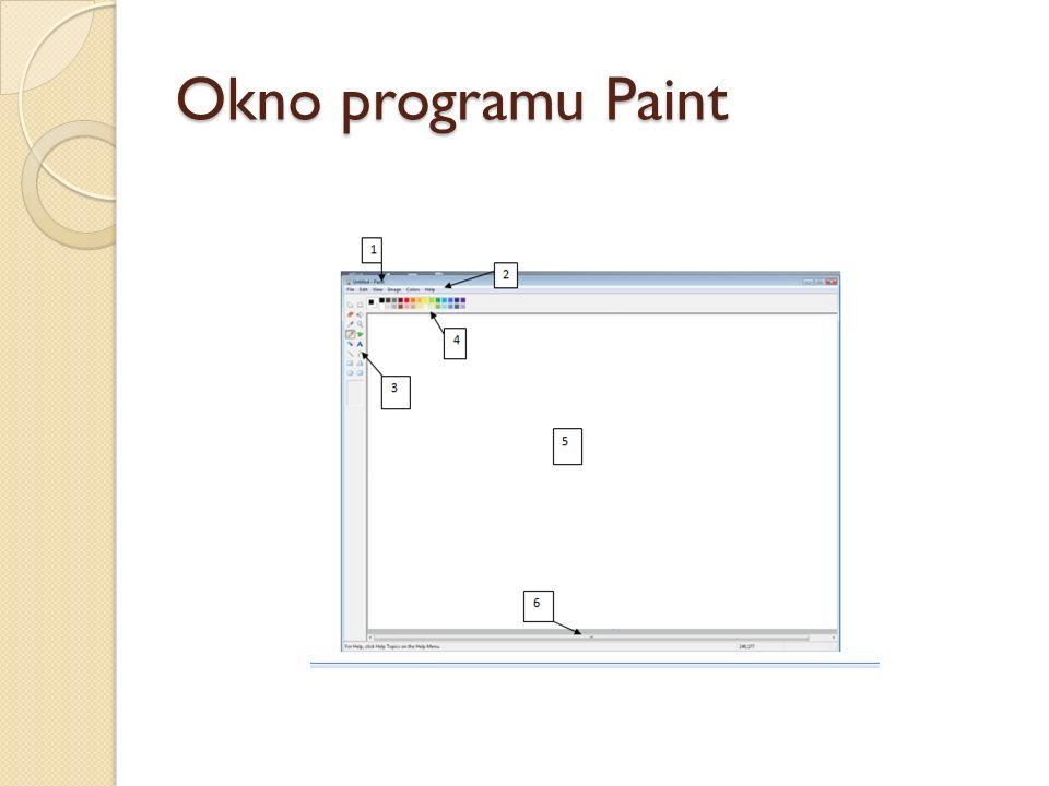 Okno programu Paint 1. Pasek tytułu; 2. Pasekmenu (poleceń); 3.