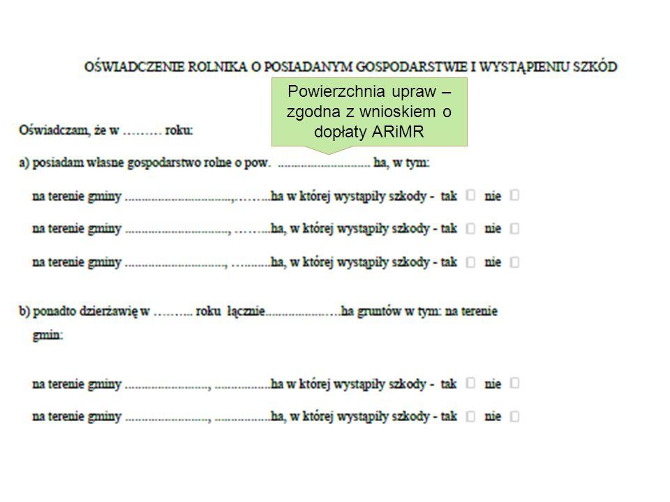 Powierzchnia upraw – zgodna z wnioskiem o dopłaty ARiMR