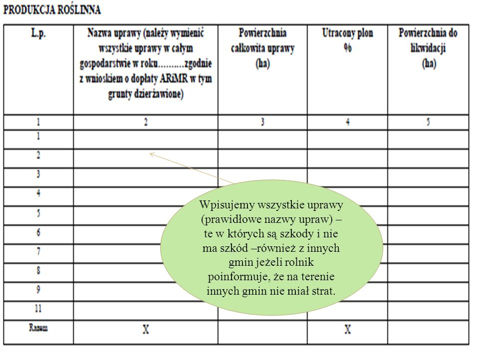 Wpisujemy wszystkie uprawy (prawidłowe nazwy upraw) – te w których są szkody i nie ma szkód –również z innych gmin jeżeli rolnik poinformuje, że na terenie innych gmin nie miał strat.