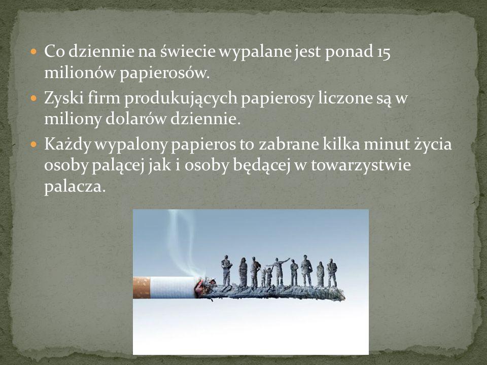 Co dziennie na świecie wypalane jest ponad 15 milionów papierosów.