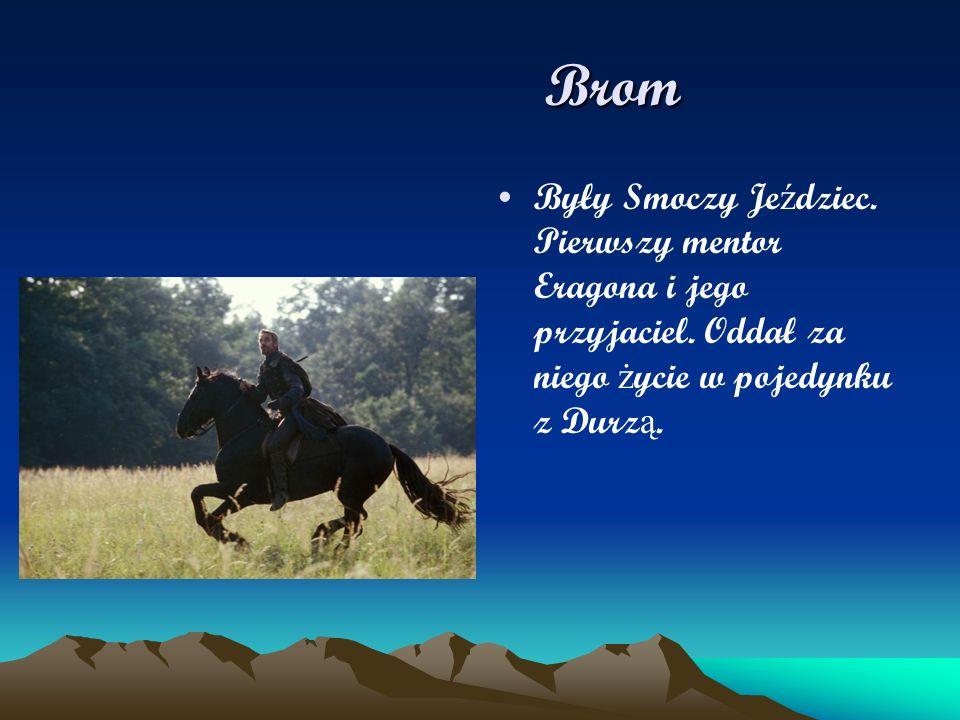 Brom Były Smoczy Jeździec. Pierwszy mentor Eragona i jego przyjaciel.