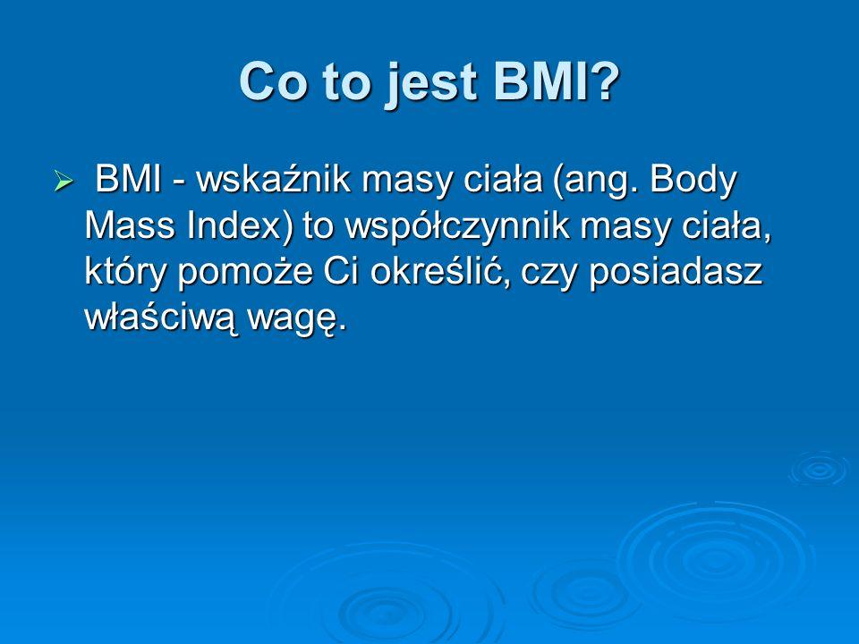 Co to jest BMI. BMI - wskaźnik masy ciała (ang.