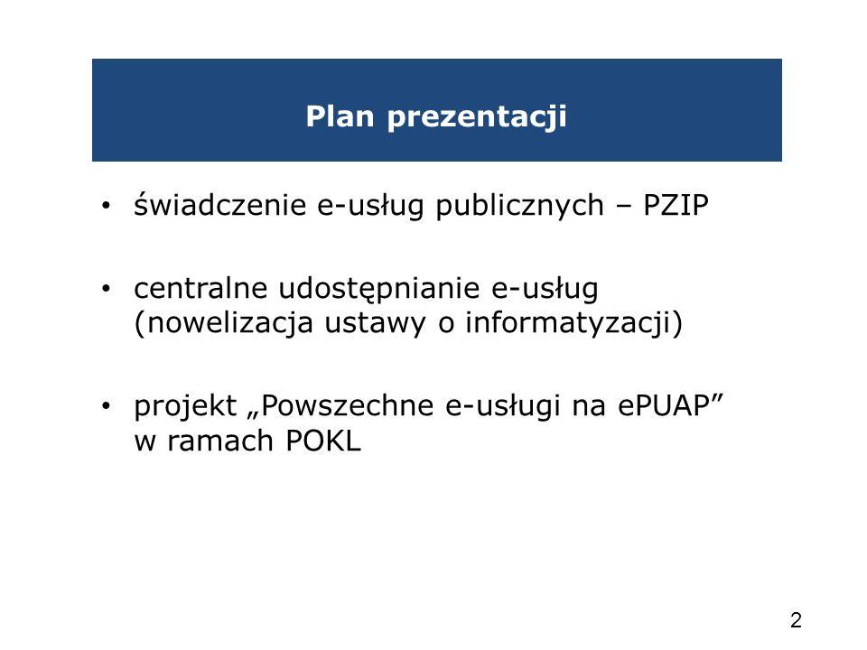 Plan prezentacji świadczenie e-usług publicznych – PZIP. centralne udostępnianie e-usług (nowelizacja ustawy o informatyzacji)