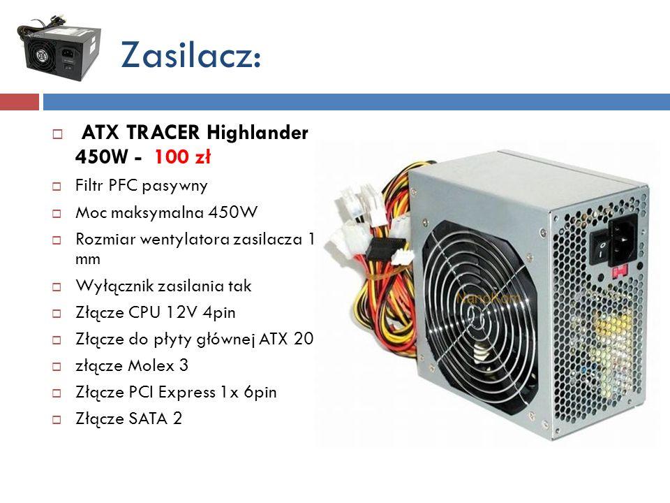 Zasilacz: ATX TRACER Highlander 450W - 100 zł Filtr PFC pasywny