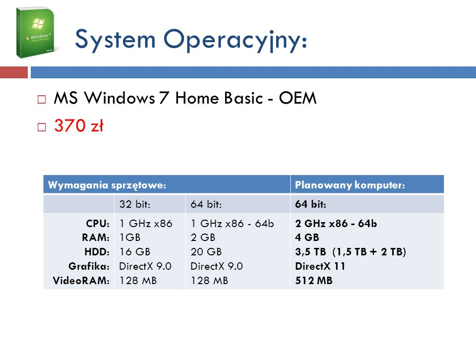 System Operacyjny: MS Windows 7 Home Basic - OEM 370 zł
