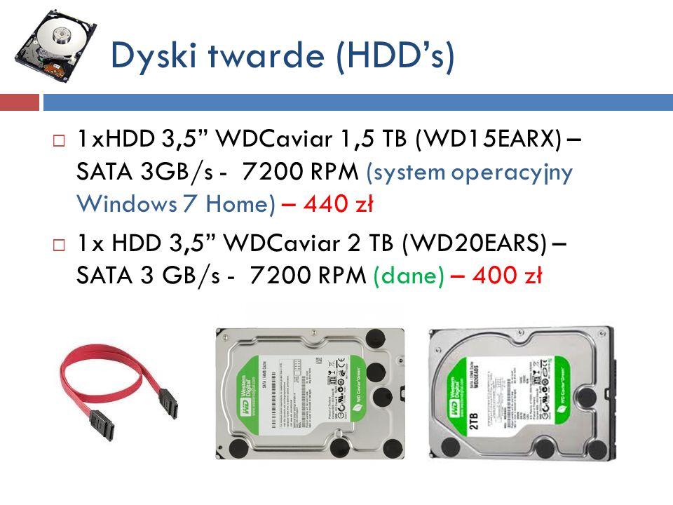 Dyski twarde (HDD's) 1xHDD 3,5 WDCaviar 1,5 TB (WD15EARX) – SATA 3GB/s - 7200 RPM (system operacyjny Windows 7 Home) – 440 zł.