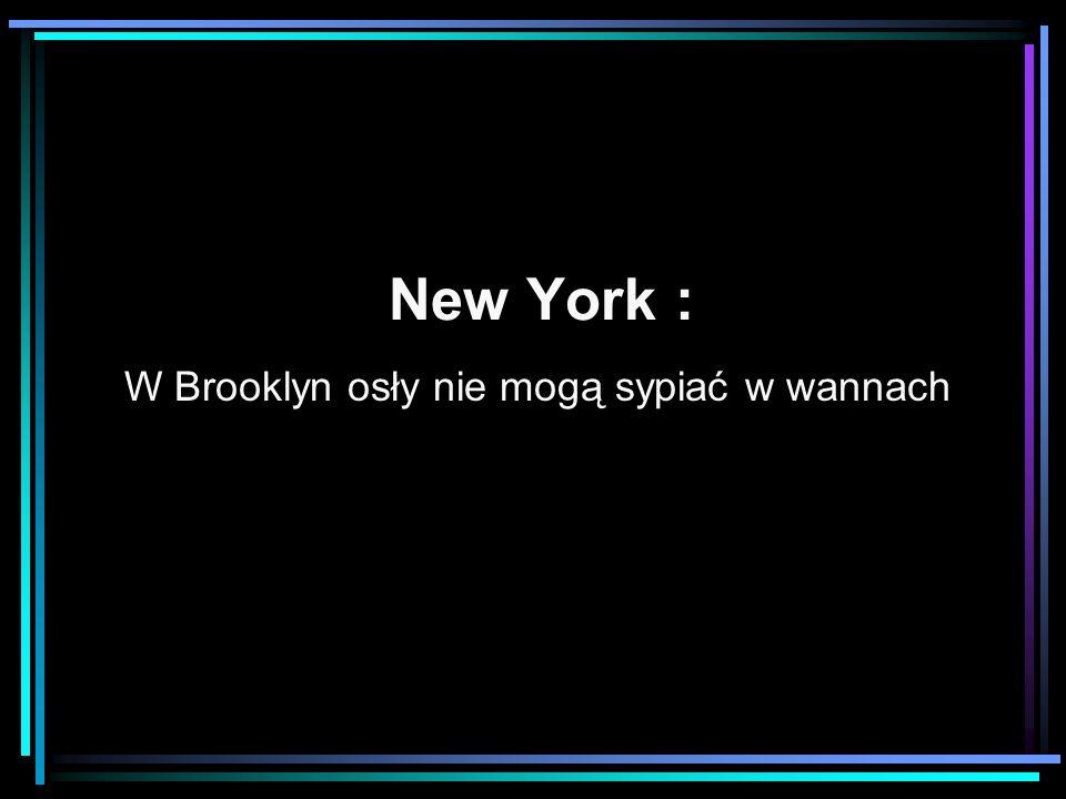W Brooklyn osły nie mogą sypiać w wannach