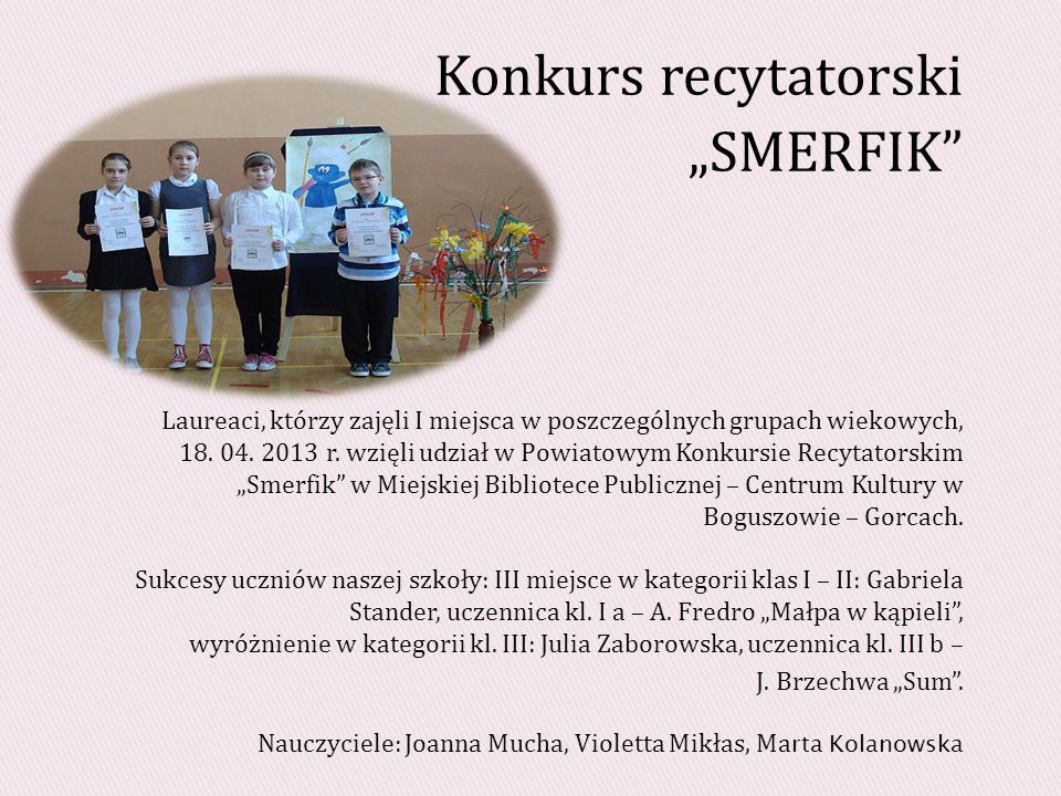 "Konkurs recytatorski ""SMERFIK"