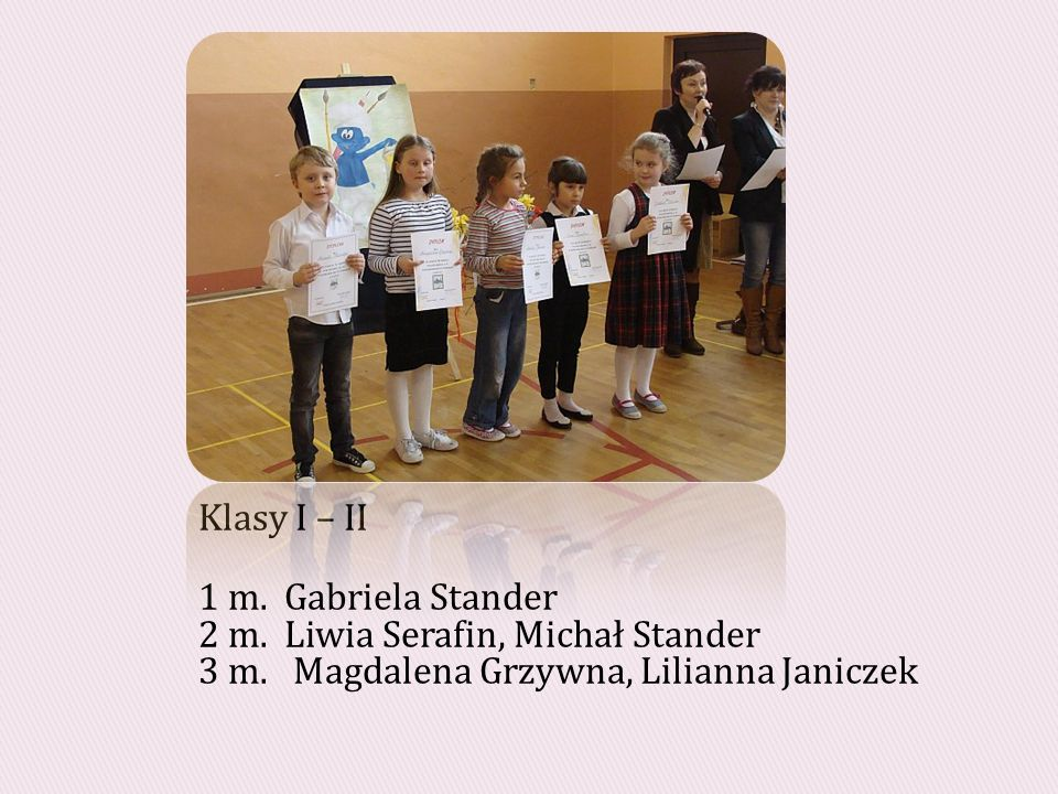 Klasy I – II 1 m. Gabriela Stander 2 m. Liwia Serafin, Michał Stander 3 m.